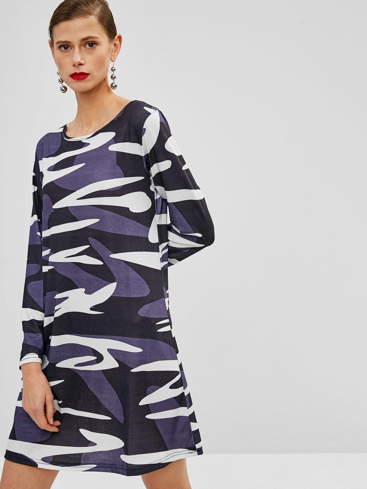 Long Sleeves Camouflage Mini Dress