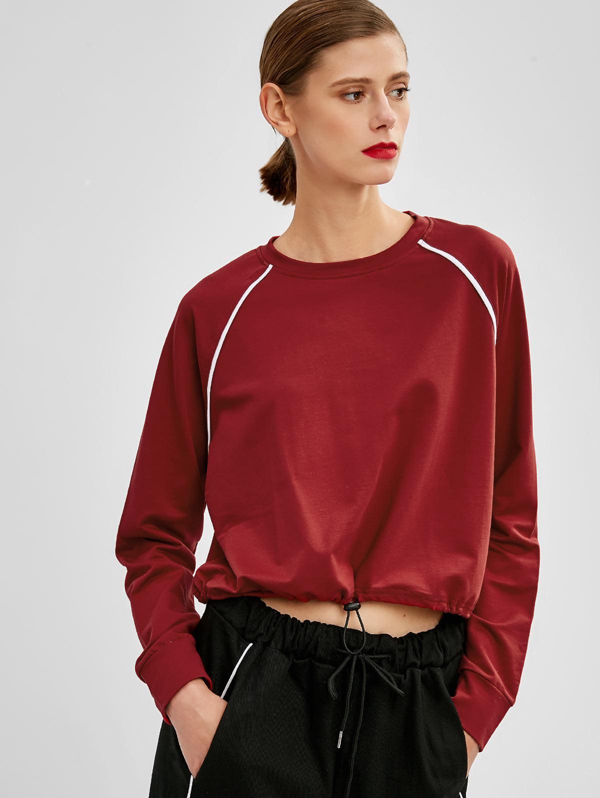 Raglan Sleeve Striped Casual Sweatshirt