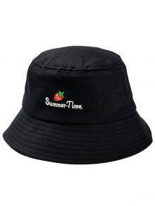 قبعة دلو مطرزة بالفراولة - أسود