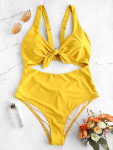 ZAFUL عقدة قطع واحد ملابس السباحة قطعة - صن اصفر Xl