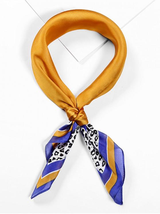 online Leopard Printed Satin Neckerchief Square Scarf - BEE YELLOW
