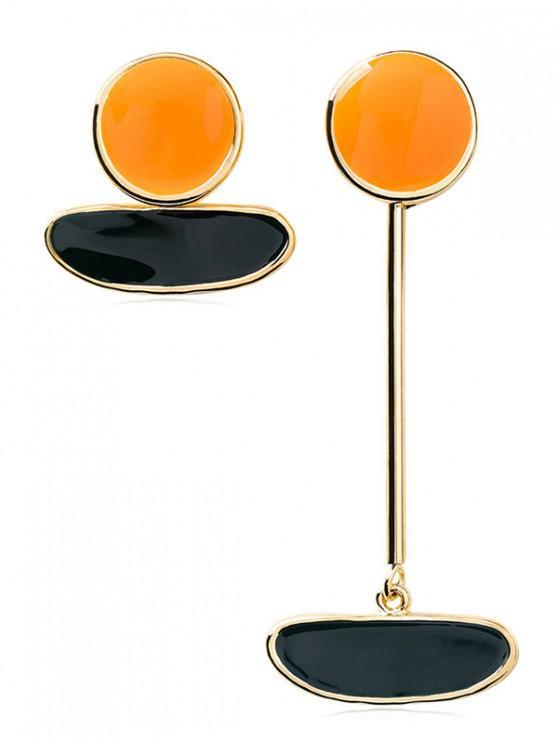 buy Irregular Shape Asymmetric Earrings - YELLOW