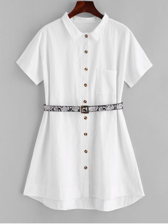 lady ZAFUL Belted Front Pocket Shirt Dress - WHITE S