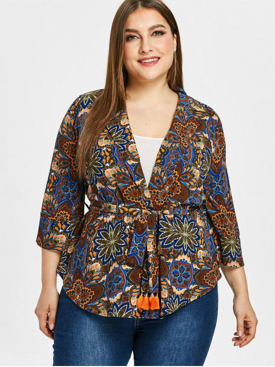 outfits ZAFUL Flower Print Plus Size Lapel Wrap Blouse - MULTI 3X