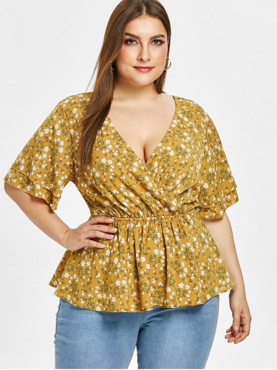 women's ZAFUL Floral Plus Size Surplice Backless Blouse - GOLDEN BROWN 1X