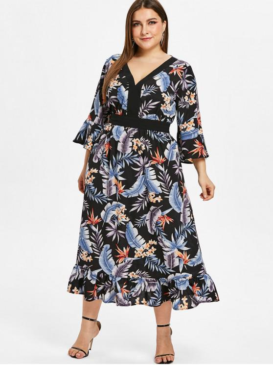 outfit ZAFUL Floral Plus Size Flare Sleeve Flounce Dress - BLACK 2X