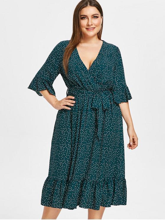 fancy ZAFUL Surplice Plus Size Polka Dot Flounce Dress - GREENISH BLUE L
