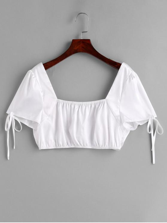 outfits ZAFUL Knotted Satin Crop Blouse - WHITE L