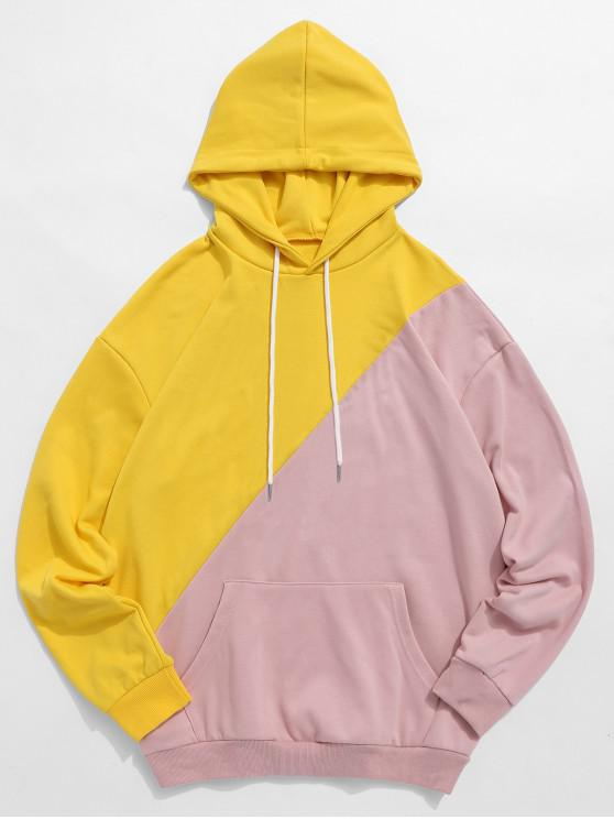 unique ZAFUL Color Block Patchwork Graphic Hoodie - YELLOW L
