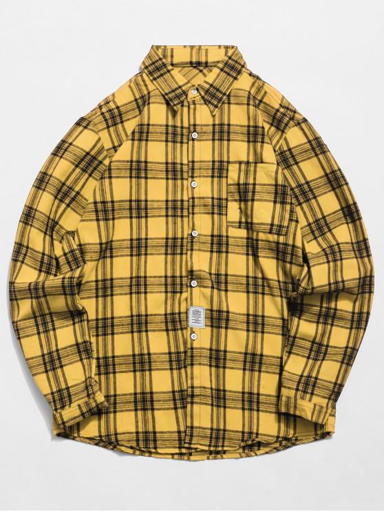 Camisa de tartán de bolsillo en el pecho - Amarillo XS