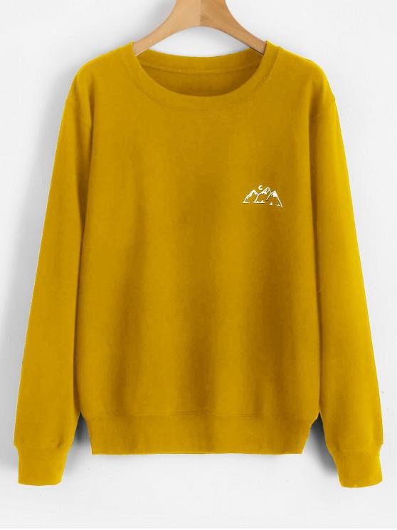 online Moon Mountains Graphic Sweatshirt - BEE YELLOW 2XL