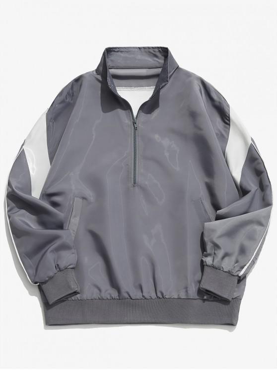 shop Half Zipper Pullover Jacket - LIGHT GRAY L