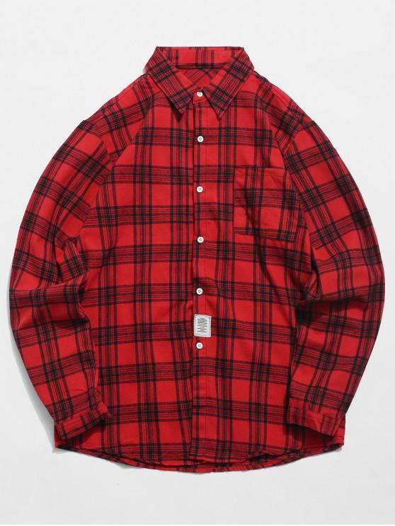 Camisa do Tartan do bolso da caixa - Vermelho S