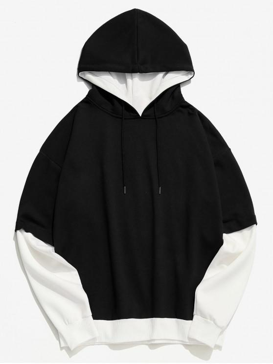 chic Two Tone False Two Piece Casual Hoodie - BLACK XS