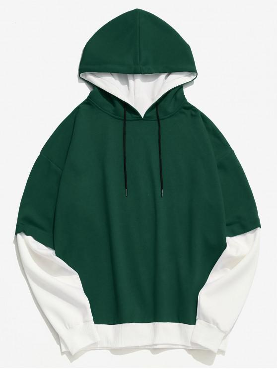 buy Two Tone False Two Piece Casual Hoodie - GREEN M