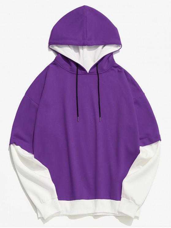 womens Two Tone False Two Piece Casual Hoodie - PURPLE XS