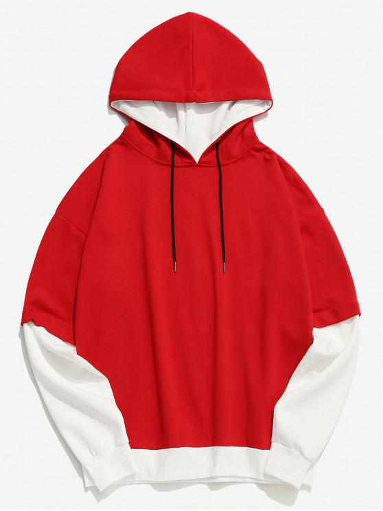 best Two Tone False Two Piece Casual Hoodie - RED M