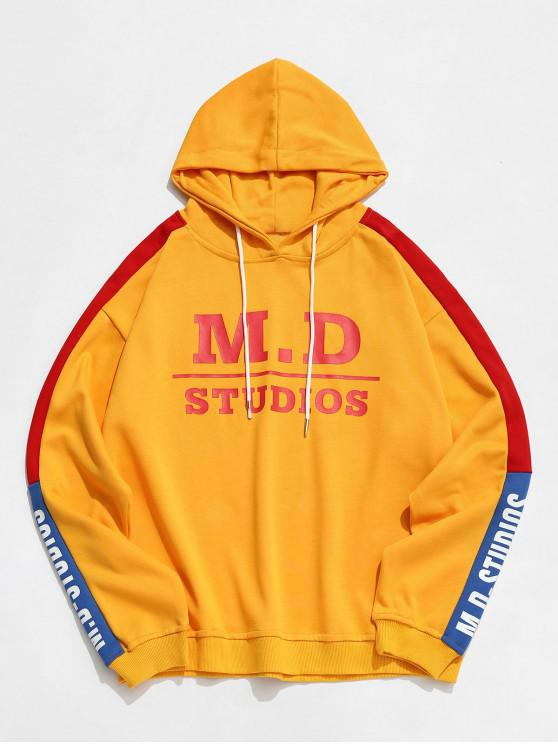 buy Colorblock Letter Casual Hoodie - YELLOW 2XL