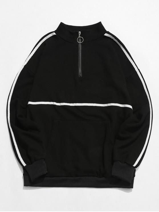 dd6ae13c8a 31% OFF] 2019 Top Zipper Pullover Pocket Sweatshirt In BLACK | ZAFUL