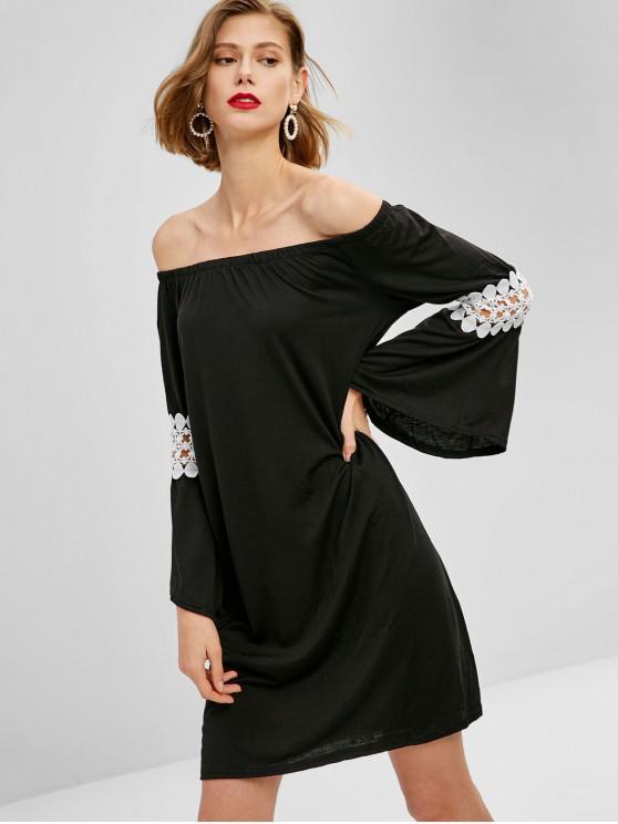 fashion Off Shoulder Crochet Panel Dress - BLACK M