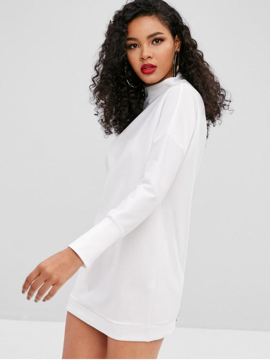 Einfarbig langärmliges legeres Kleid - Weiß M
