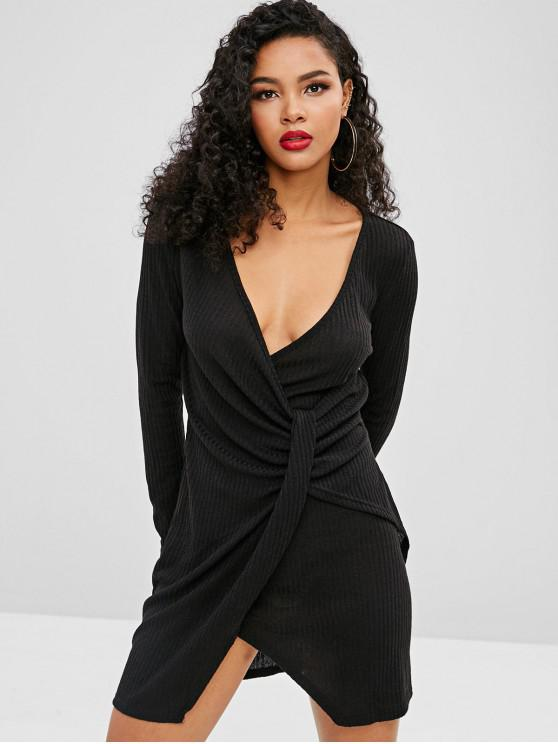 latest Knitted Ribbed Draped Dress - BLACK S