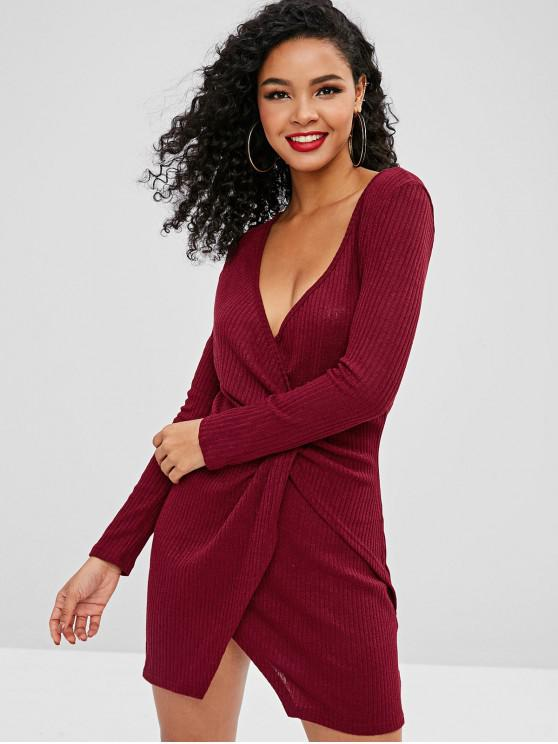 affordable Knitted Ribbed Draped Dress - RED M