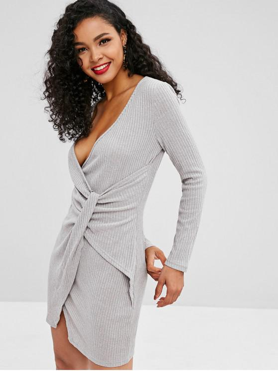 womens Knitted Ribbed Draped Dress - LIGHT GRAY M