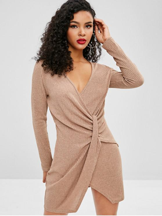hot Knitted Ribbed Draped Dress - KHAKI L