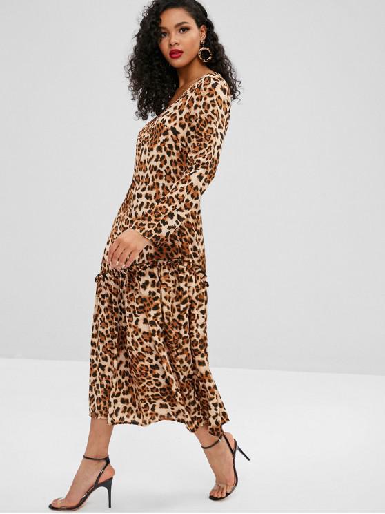 lady Leopard Ruffles Long Sleeve Dress - LEOPARD M