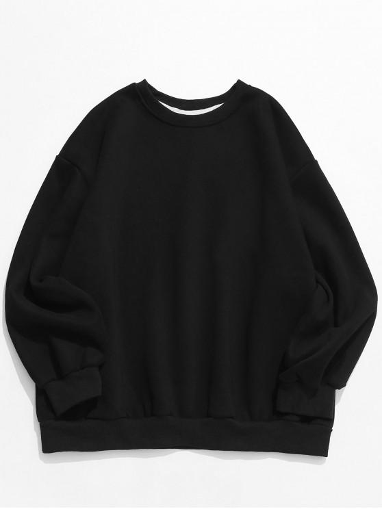 ladies Casual Solid Crewneck Fleece Sweatshirt - BLACK 2XL