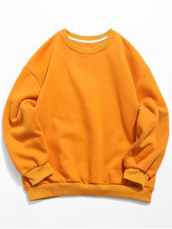 Casual Solid Crewneck Fleece Suéter - Amarelo L