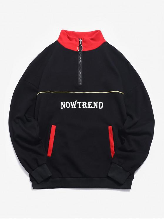 chic Contrast Letter Top Zipper Sweatshirt - RED 2XL