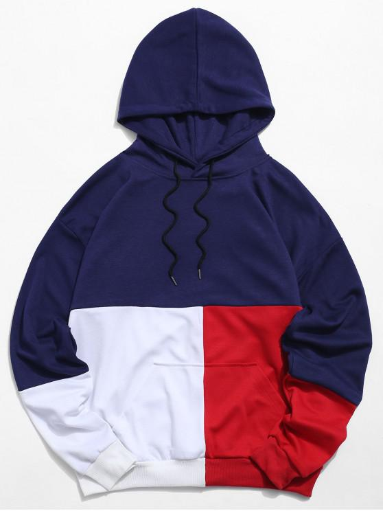 new Color Block Pouch Pocket Drawstring Hoodie - DEEP BLUE XS