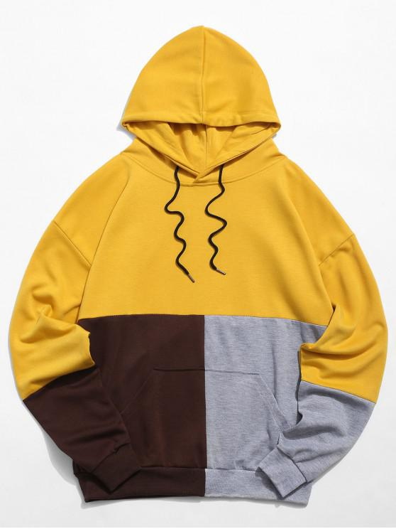 fashion Color Block Pouch Pocket Drawstring Hoodie - YELLOW XS