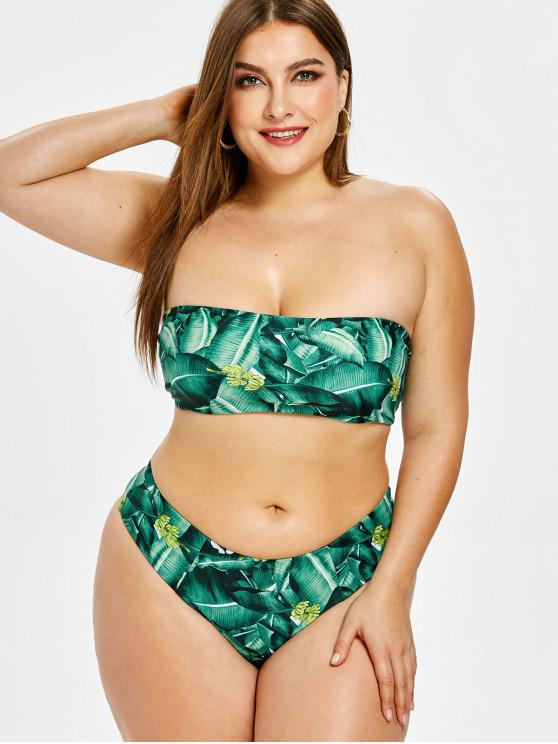 unique ZAFUL Palm Bandeau Plus Size Bikini Set - GREEN 2X
