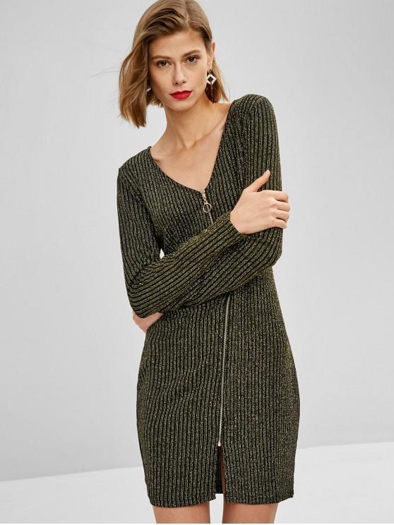 Mini Robe Brillante avec Zip en Avant - Multi S