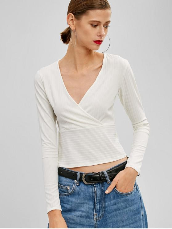 womens Crossover Ribbed Top - WHITE M