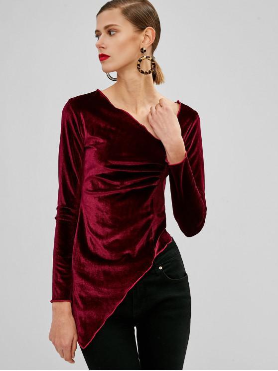 women's Ruched Velvet Asymmetrical Top - PLUM PIE S