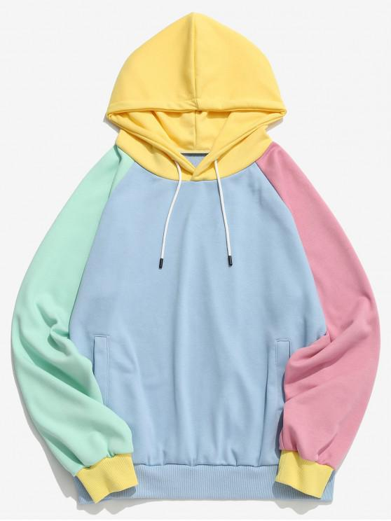 e54a74c6c383 36% OFF] 2019 ZAFUL Color Block Raglan Sleeve Hoodie In LIGHT BLUE ...