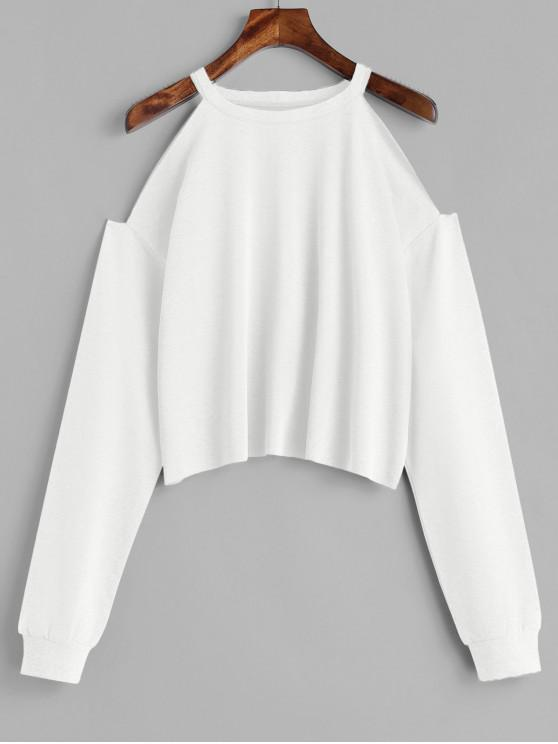 shops ZAFUL Cropped Cut Out Cold Shoulder Sweatshirt - WHITE M