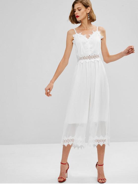 trendy Cami Lace Panel Wide Leg Jumpsuit - MILK WHITE M