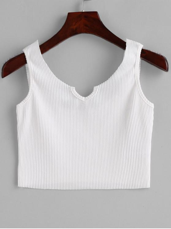 sale Ribbed V Neck Crop Tank Top - WHITE ONE SIZE