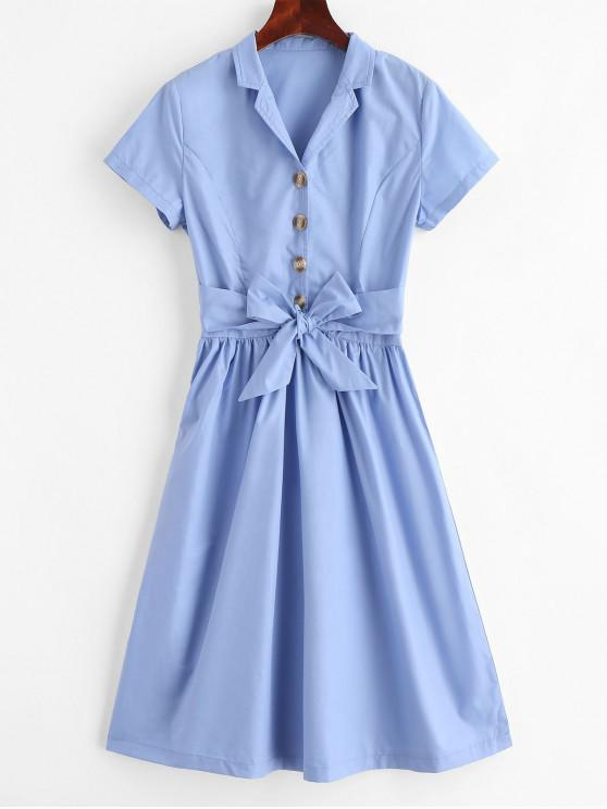 buy ZAFUL Half Buttoned Belted A Line Dress - POWDER BLUE S