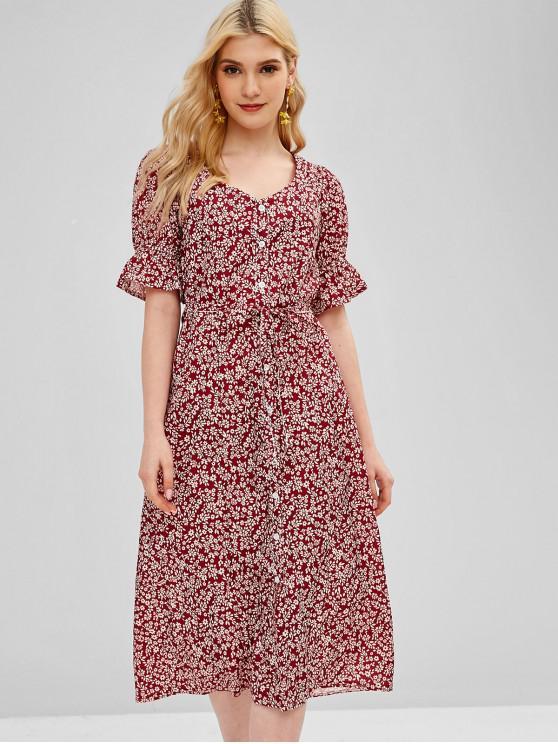 Botão atado acima vestido floral - Vinho Tinto M