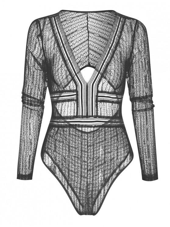 fashion Long Sleeve Cut Out Lace Bodysuit - BLACK M