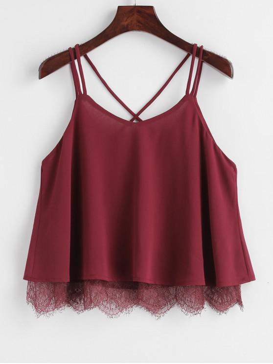women's Strappy Chiffon Lace Trim Top - RED WINE L