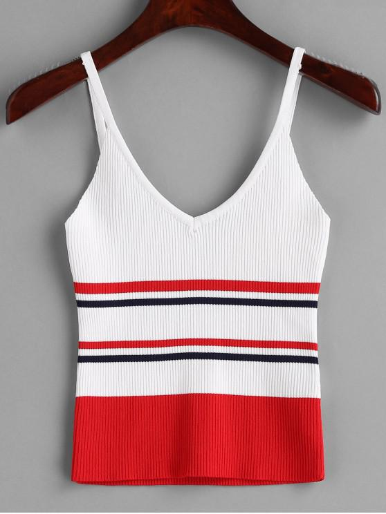 fancy Ribbed Striped Camisole - RED S