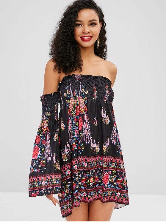 unique Off Shoulder Smocked Floral Print Dress - BLACK L