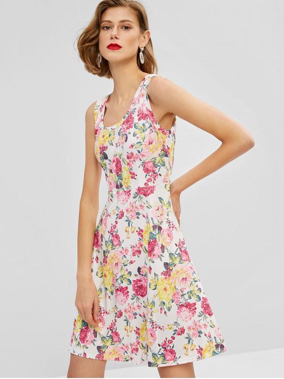 Ärmelloses Flare-Kleid mit Blumendruck - Weiß 2XL